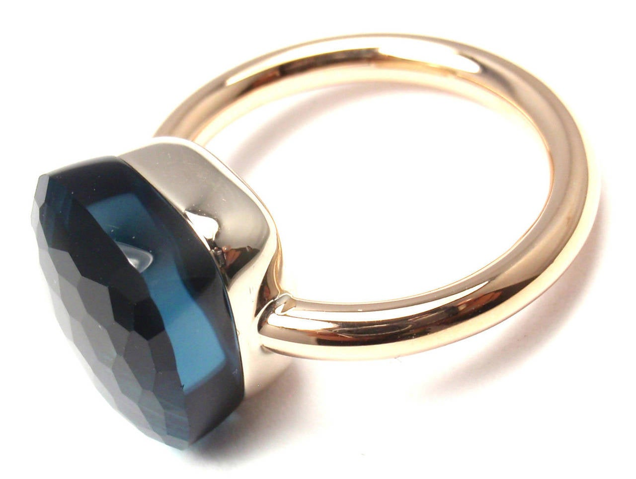 Women's Pomellato Nudo Large London Blue Topaz Two Color Gold Cocktail Ring For Sale