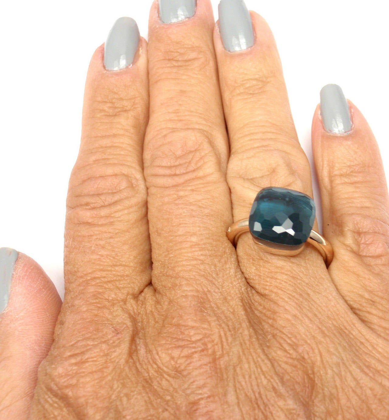 Pomellato Nudo Large London Blue Topaz Two Color Gold Cocktail Ring For Sale 3