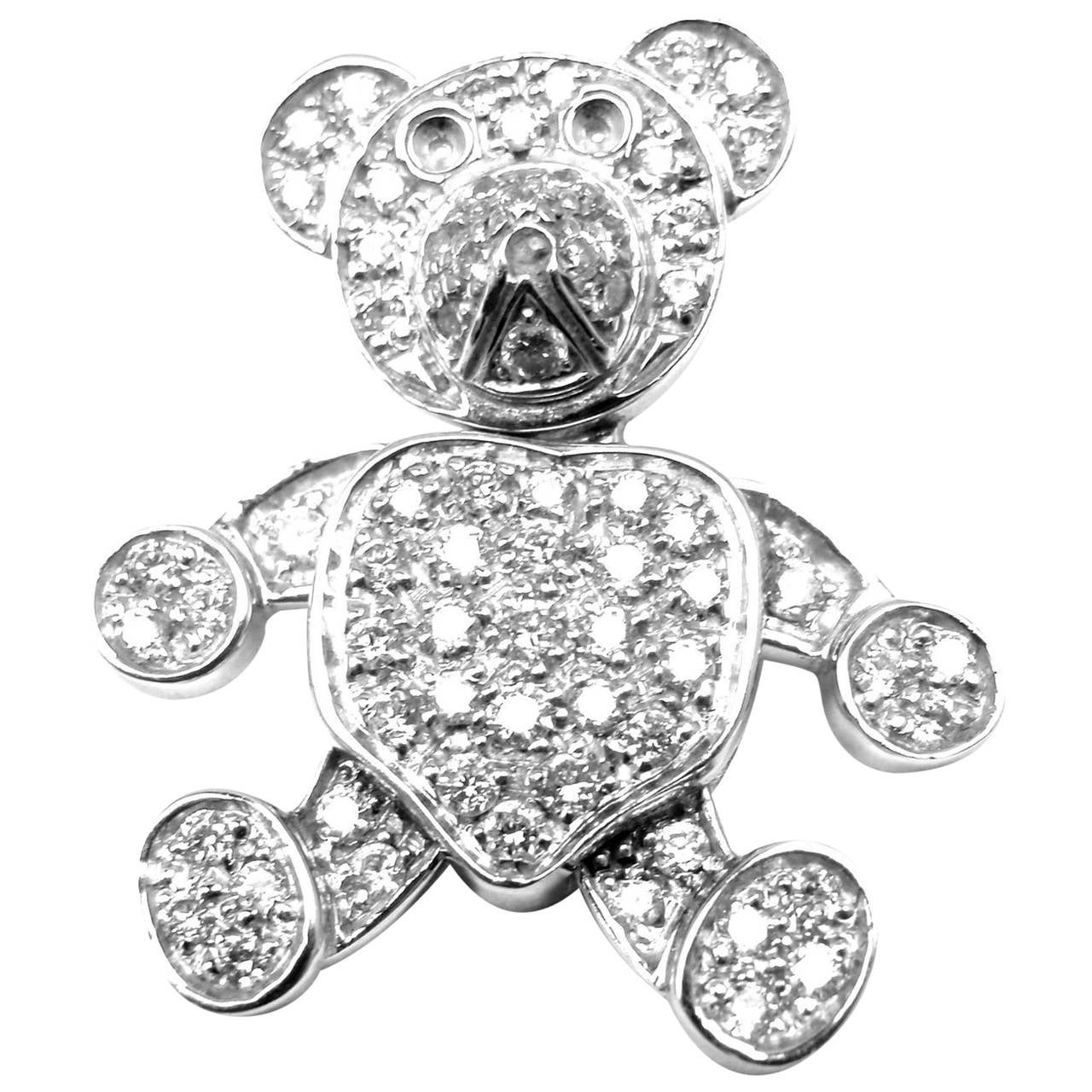 Pomellato Diamond Gold Teddy Bear Pendant Necklace 1