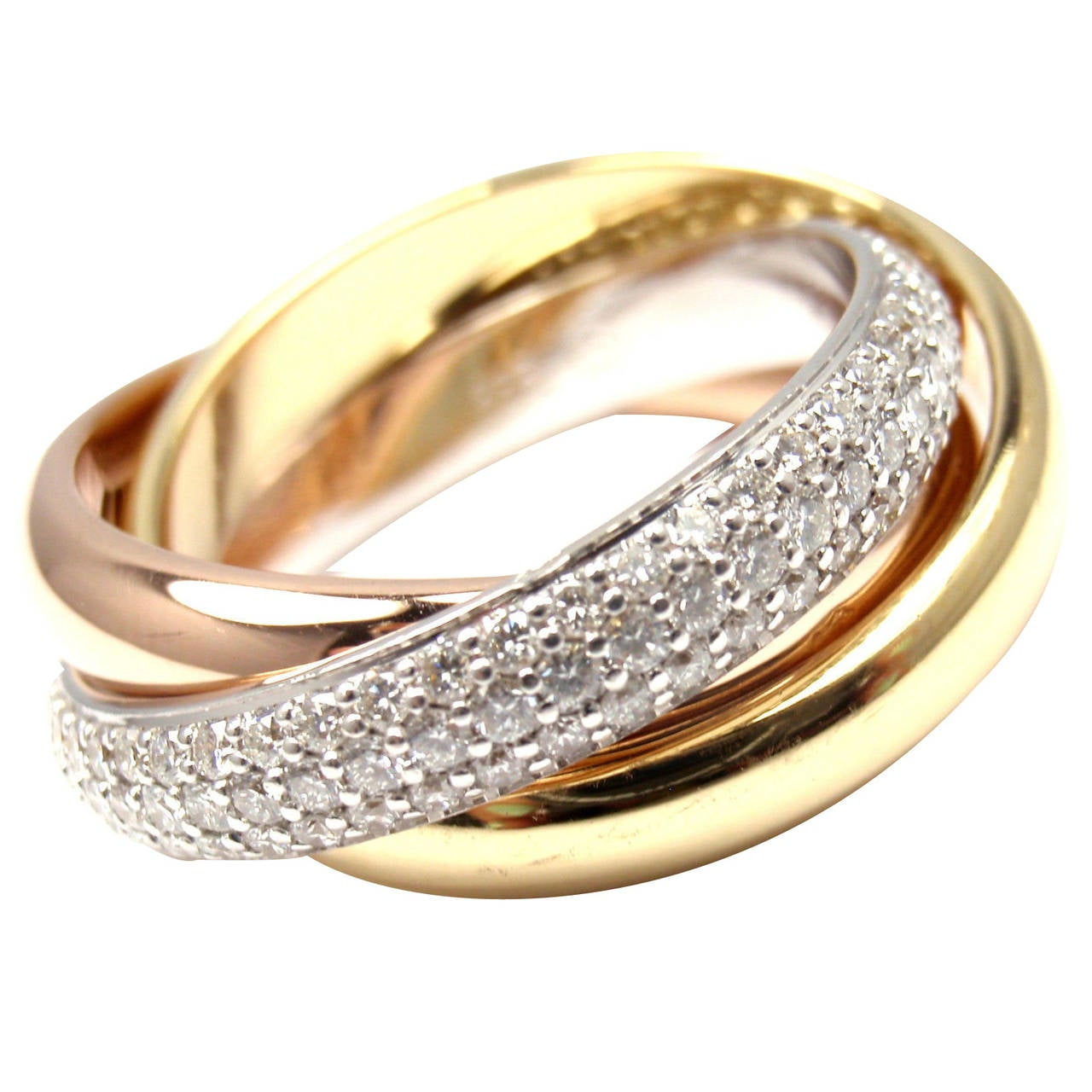 cartier pave tri color gold band ring at