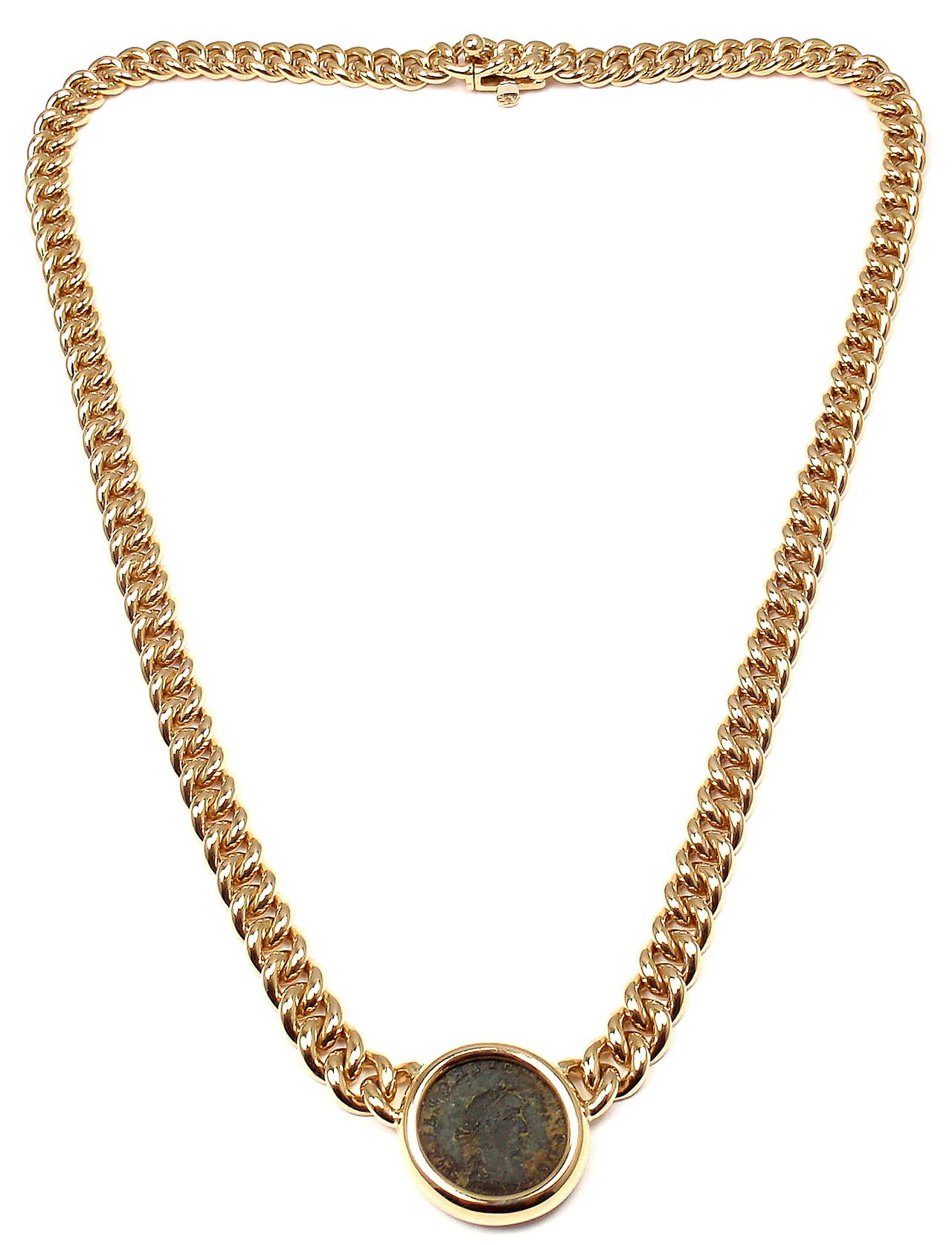 bulgari ancient coin gold link necklace for sale at