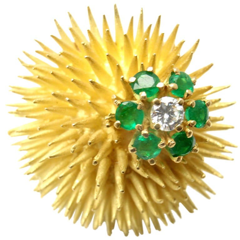 Tiffany & Co. Emerald Diamond Yellow Gold Sea Urchin Pin Brooch