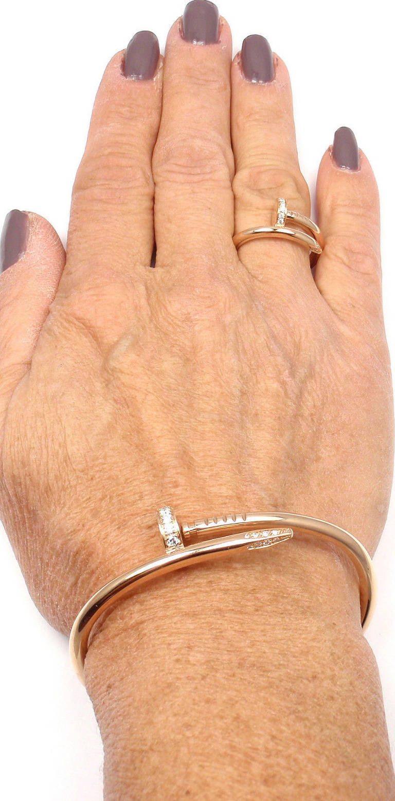 3795a54125053 Cartier Juste un Clou Diamond Rose Gold Nail Bangle Bracelet