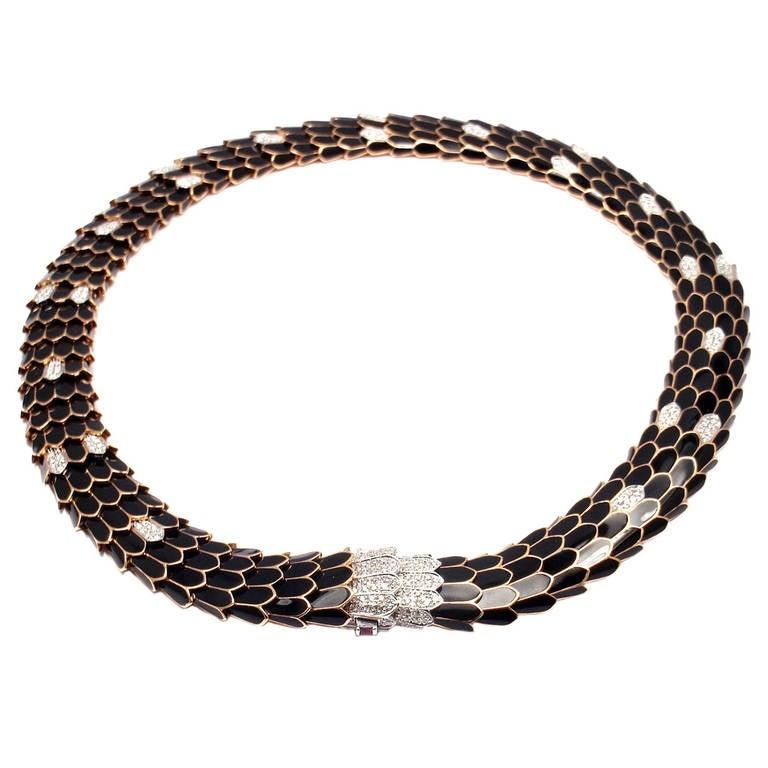 Roberto Coin Cobra Black Enamel Diamond Rose Gold Necklace
