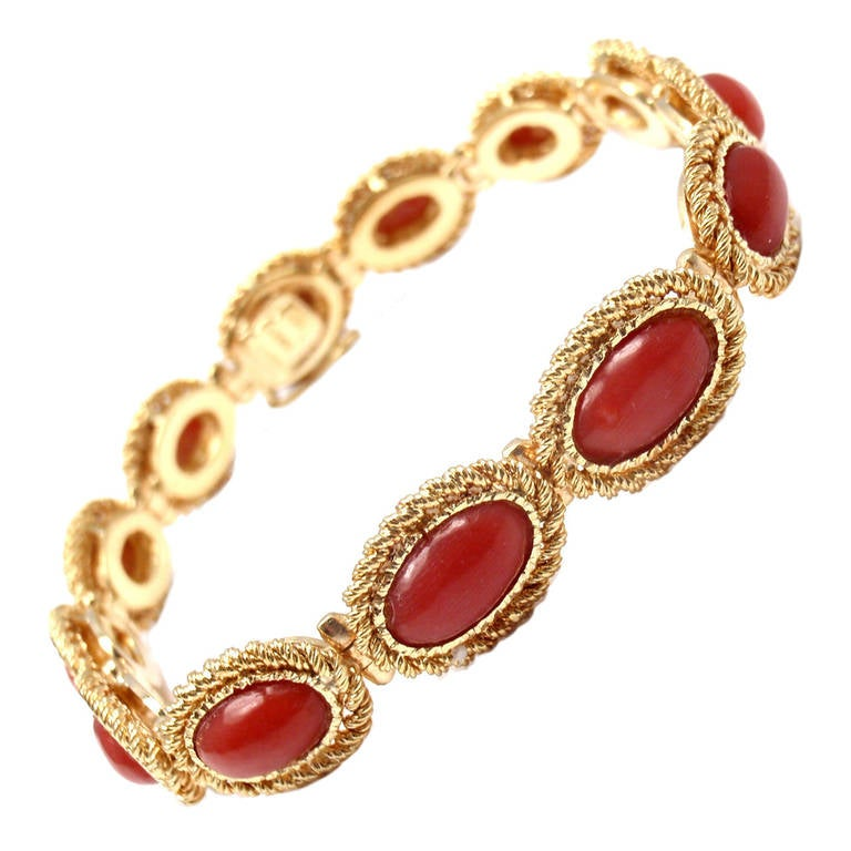 Cartier Coral Yellow Gold Link Bracelet