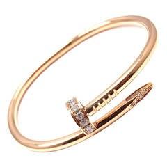 Cartier Juste un Clou Diamond Rose Gold Nail Bangle Bracelet