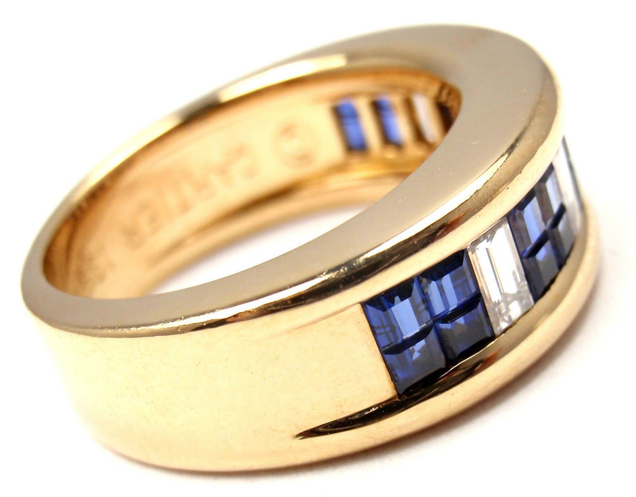 Cartier Diamond Invisible Set Sapphire Gold Band Ring In New Condition For Sale In Southampton, PA