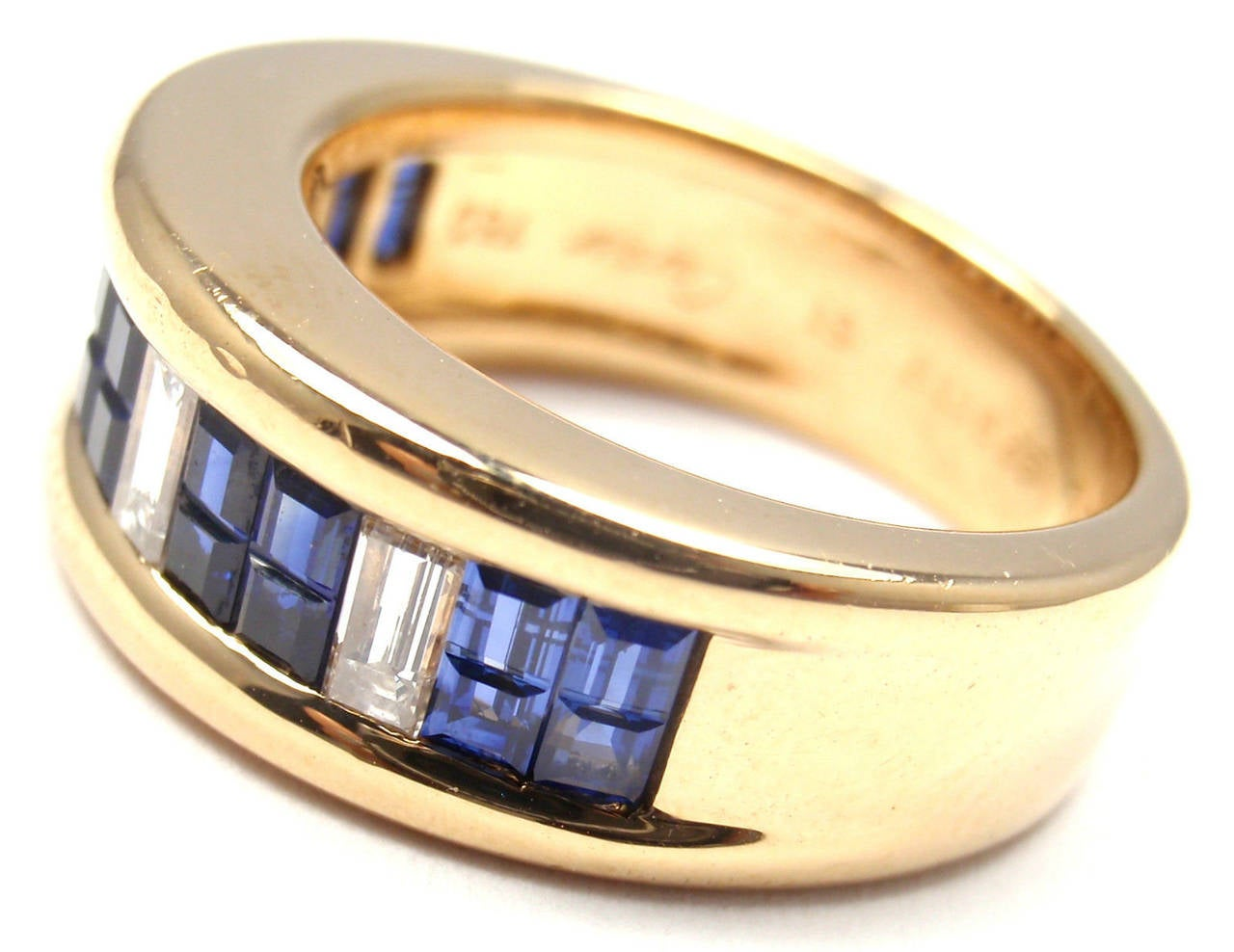 Cartier Diamond Invisible Set Sapphire Gold Band Ring For Sale 1