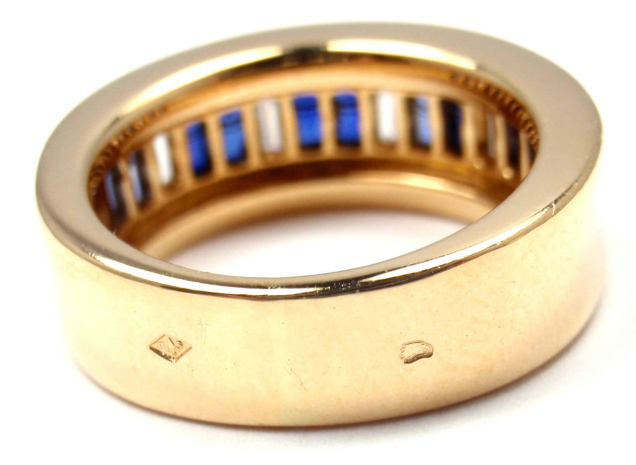 Women's Cartier Diamond Invisible Set Sapphire Gold Band Ring For Sale