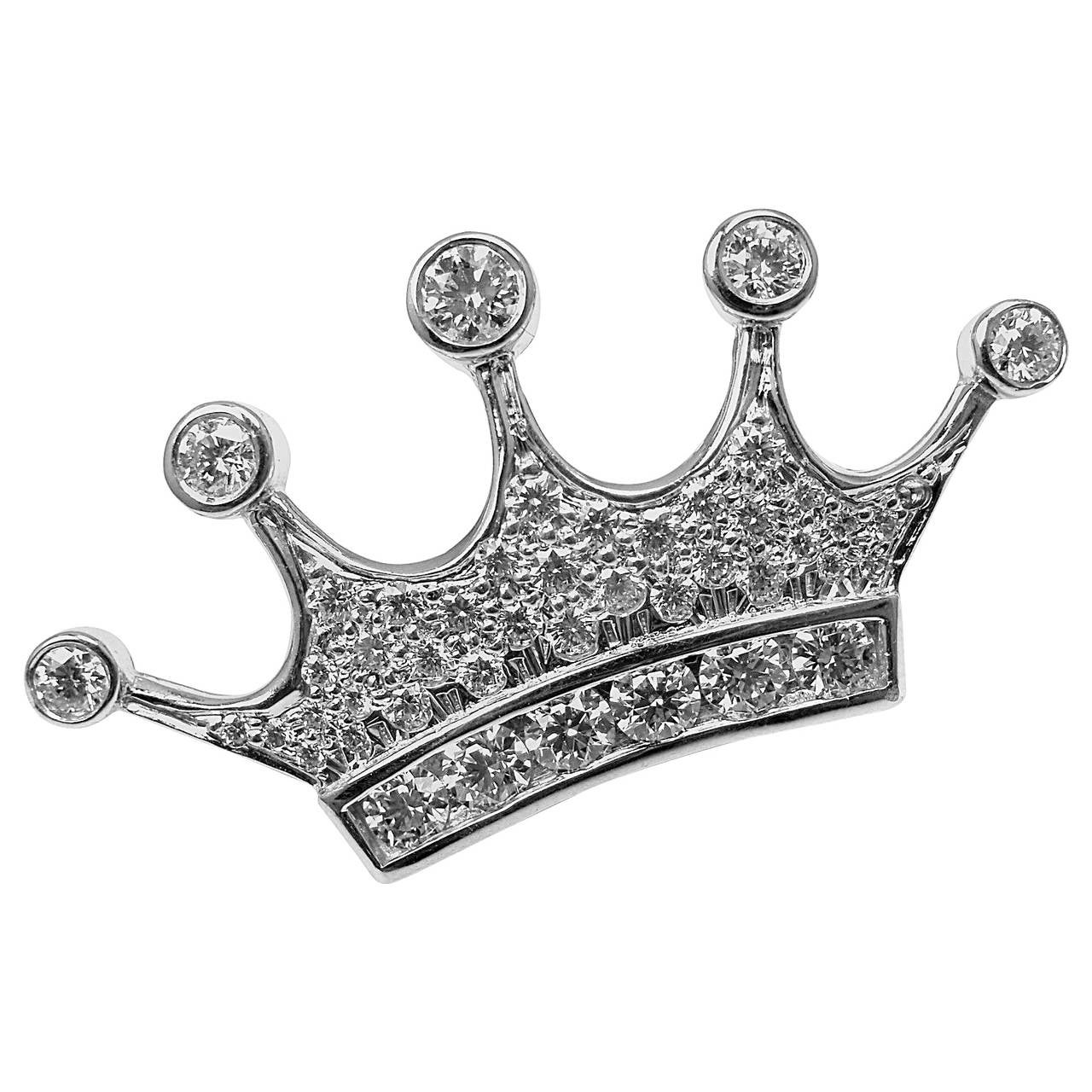 Tiffany & Co. Crown Diamond Platinum Brooch