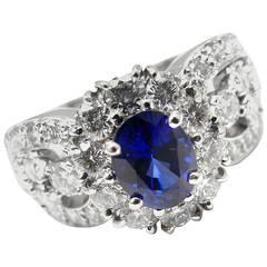 Van Cleef & Arpels Sapphire Diamond Platinum Ring
