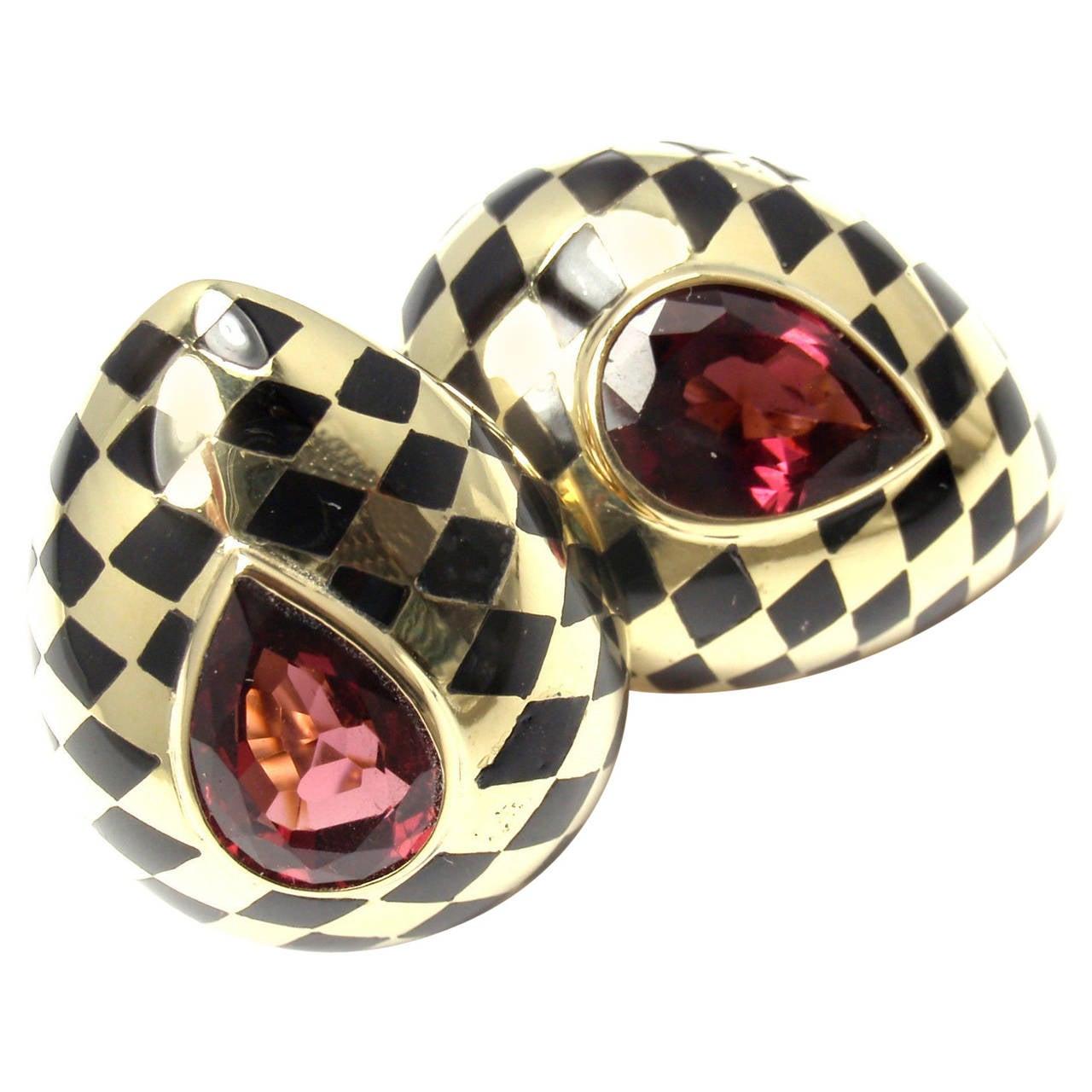 Angela Cummings Black Jade Inlay Pink Tourmaline Gold Earrings