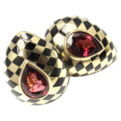 Angela Cummings Black Jade Inlay Pink Tourmaline Gold Earrings