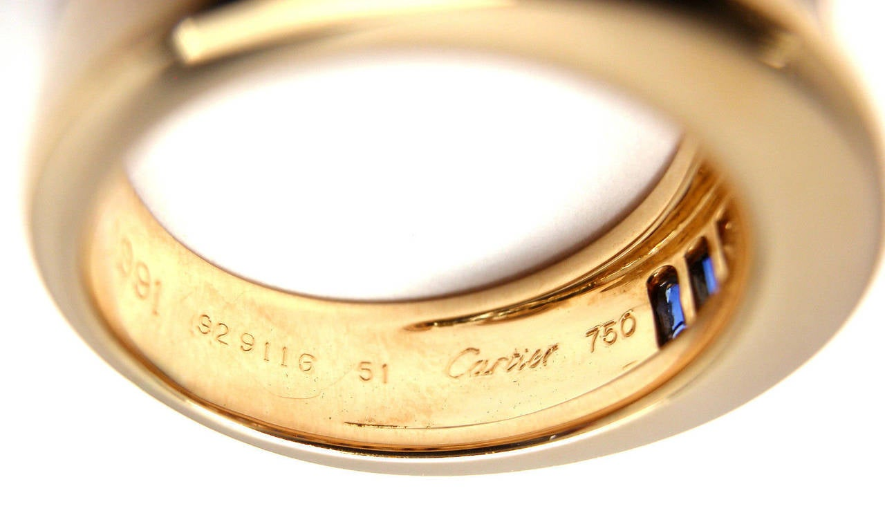 Cartier Diamond Invisible Set Sapphire Gold Band Ring For Sale 2
