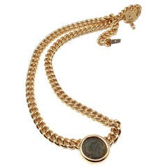 Bulgari Ancient Roman Coin Gold Link Necklace