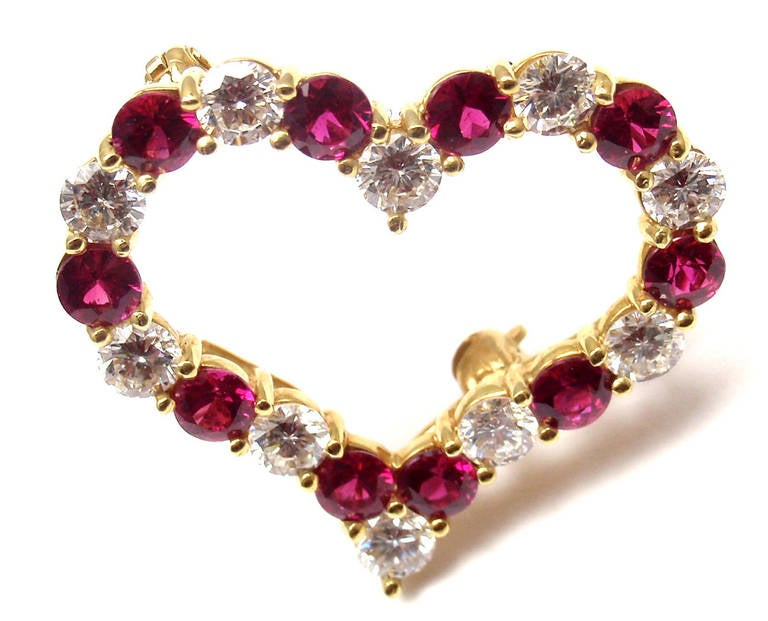 18k Yellow Gold Diamond & Ruby Heart Pin Brooch by Tiffany & Co. 