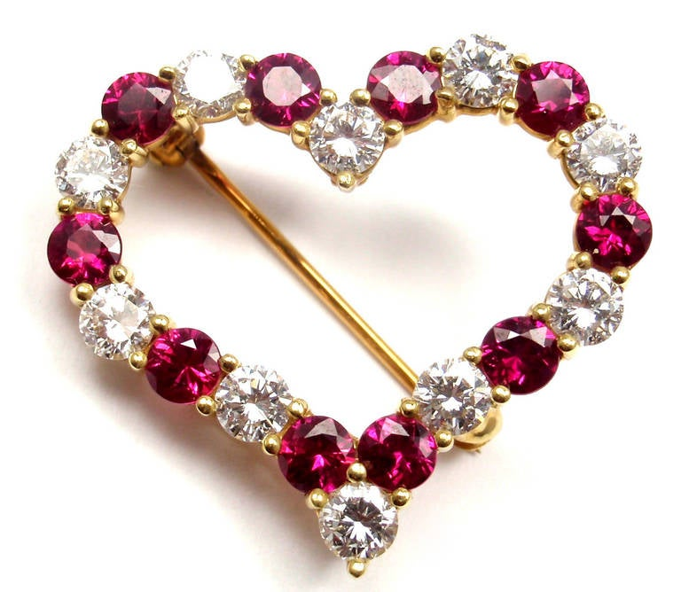 Tiffany & Co. Ruby Yellow Gold Diamond Heart Pin Brooch In As new Condition For Sale In Southampton, PA
