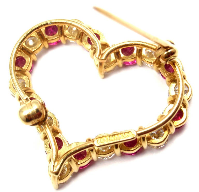 Tiffany & Co. Ruby Yellow Gold Diamond Heart Pin Brooch For Sale 1