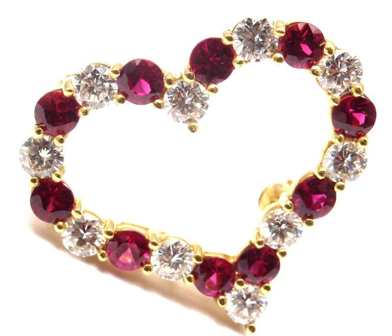 Tiffany & Co. Ruby Yellow Gold Diamond Heart Pin Brooch For Sale 3