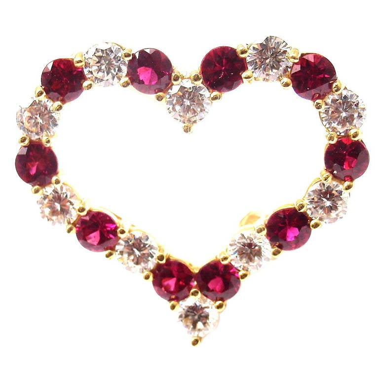Tiffany & Co. Ruby Yellow Gold Diamond Heart Pin Brooch For Sale