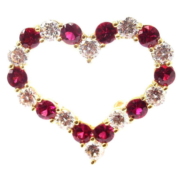 Tiffany & Co. Ruby Yellow Gold Diamond Heart Pin Brooch 1