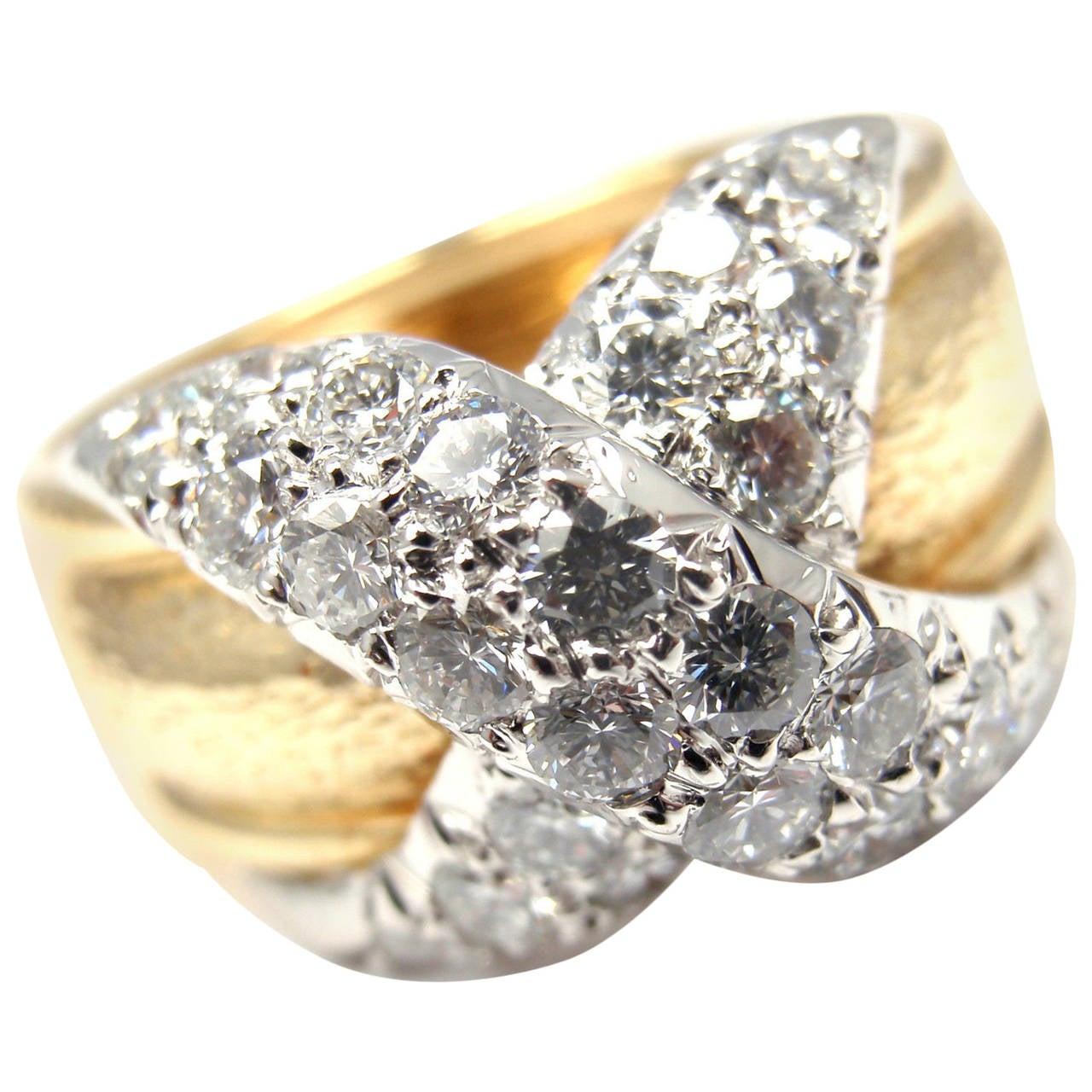 Tiffany & Co. Jean Schlumberger Diamond X Gold Band Ring