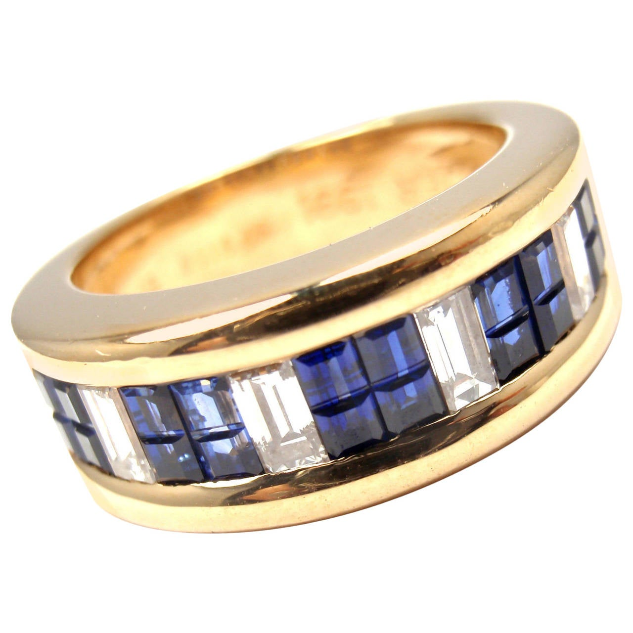 Cartier Diamond Invisible Set Sapphire Gold Band Ring For Sale