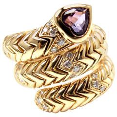 Bulgari Amethyst Diamond Gold Spiga Snake Band Ring