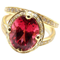 Temple St Clair 2.89 Carat Red Spinel Diamond Gold Cocktail Ring