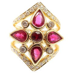 Temple St Clair Persia Ruby Diamond Gold Cocktail Ring