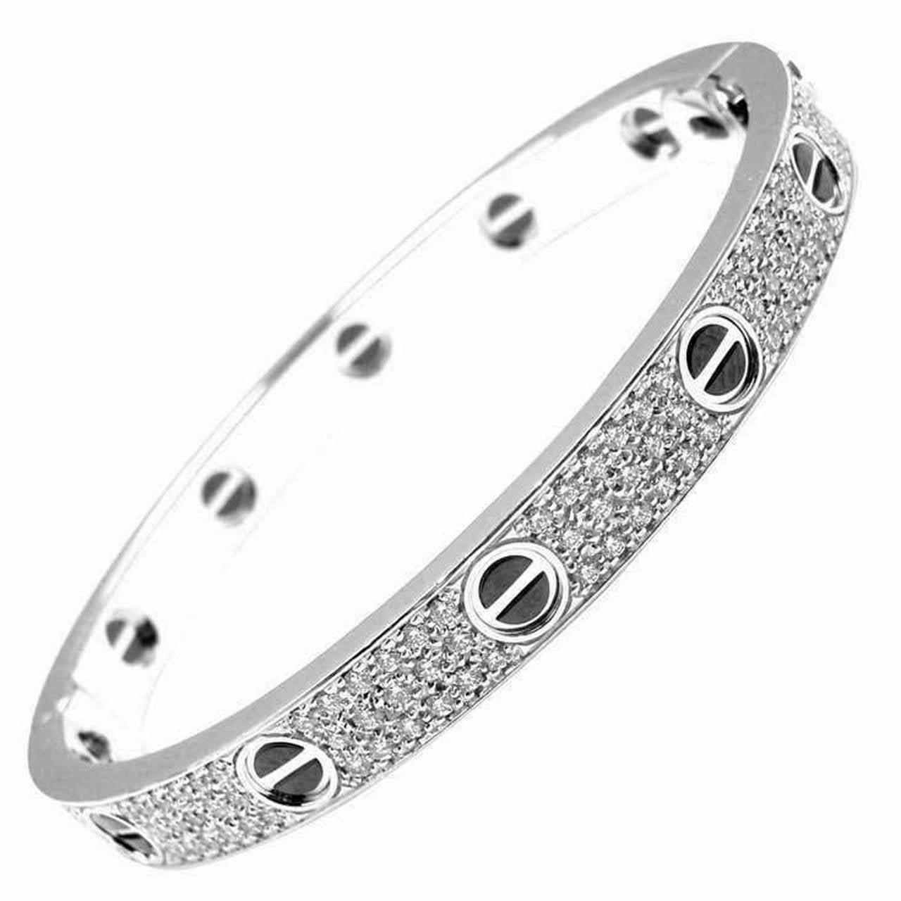 24f6951a5 Cartier Ceramic Diamond Gold Love Bangle Bracelet at 1stdibs