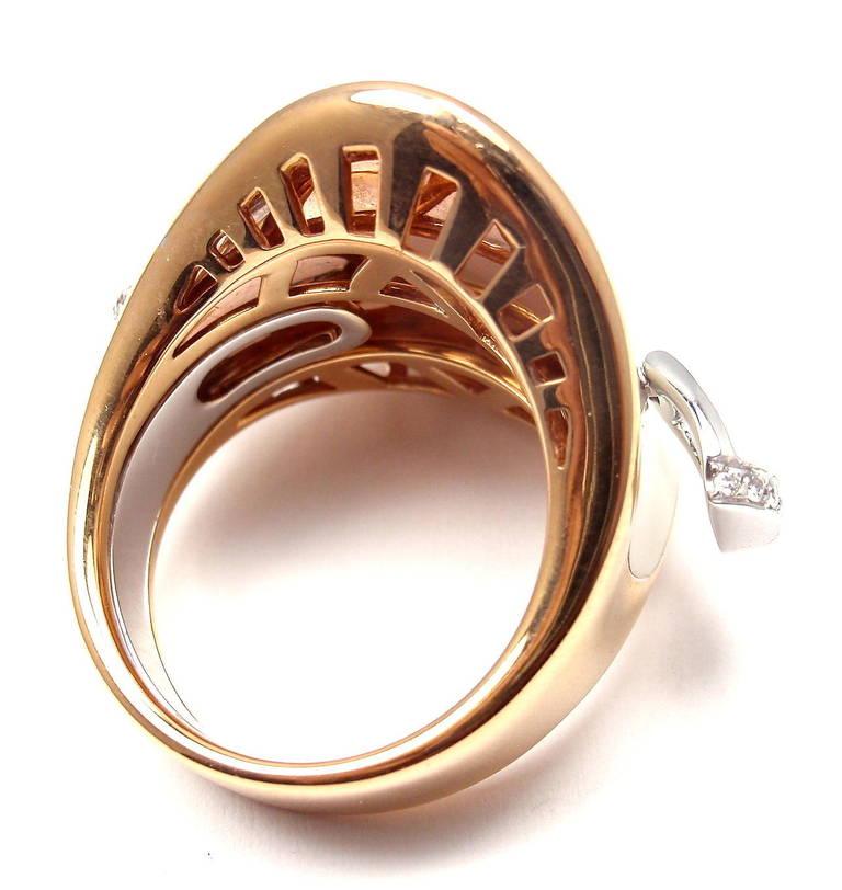 Roberto Coin Saddle Stirrup Diamond Enamel Rose Gold Ring