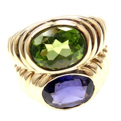 Bulgari Peridot and Iolite Yellow Gold Ring