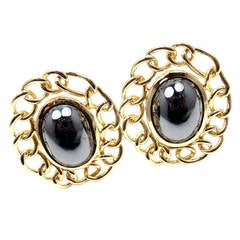 Angela Cummings Large Hematite Yellow Gold Earrings
