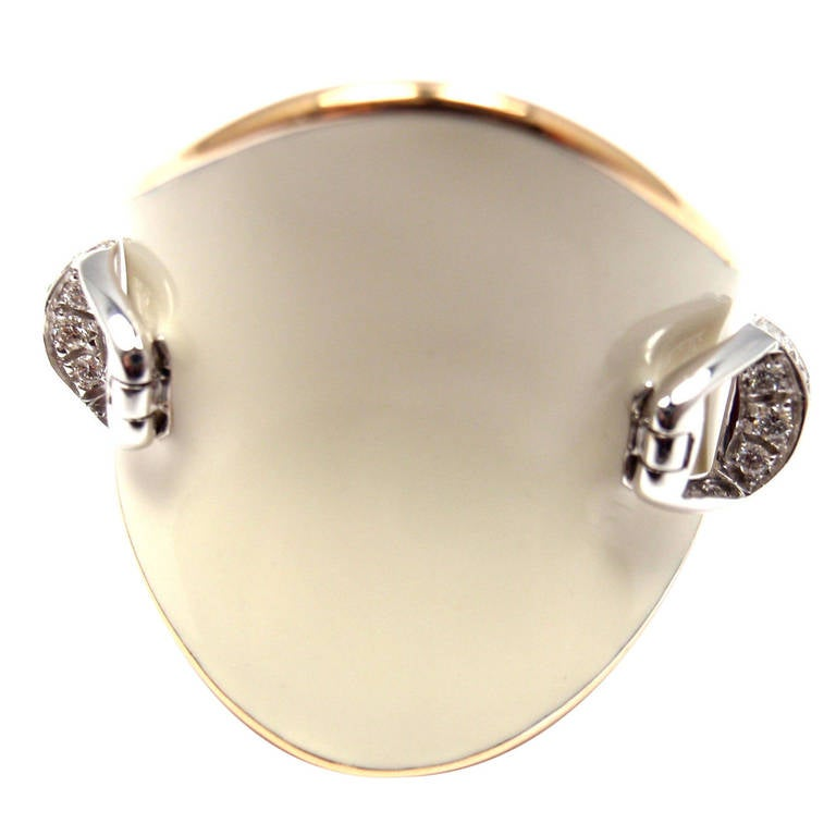 Roberto Coin Saddle Stirrup Diamond Enamel Rose Gold Ring