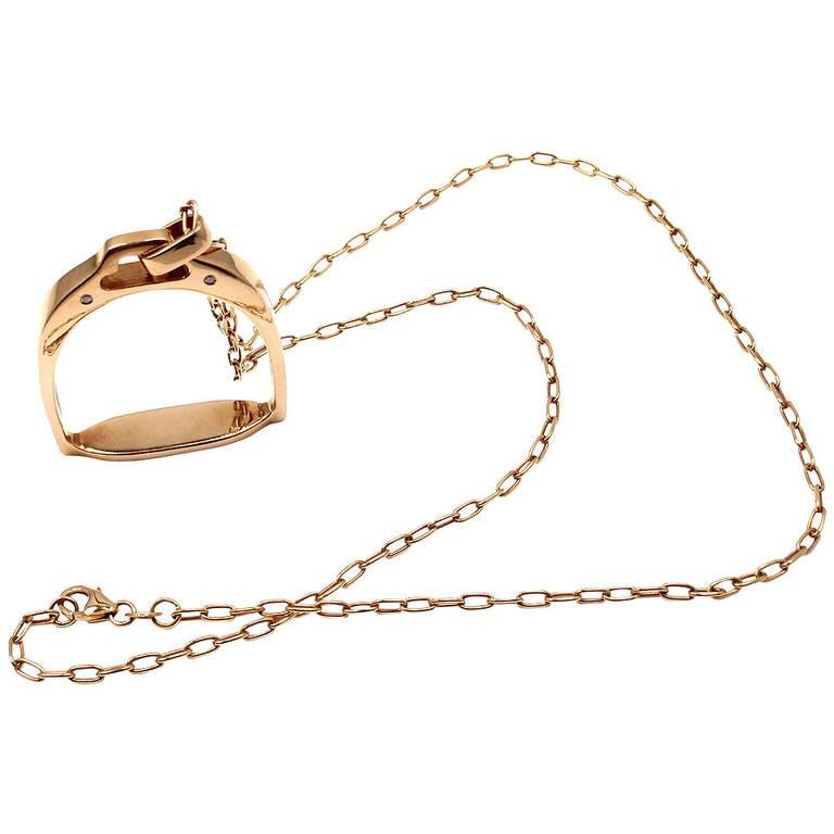 Roberto Coin Saddle Stirrup Diamond Rose Gold Pendant Necklace