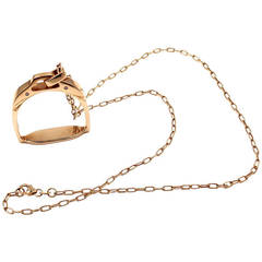 Roberto Coin Saddle Stirrup Diamond Rose Gold Pendant Necklace