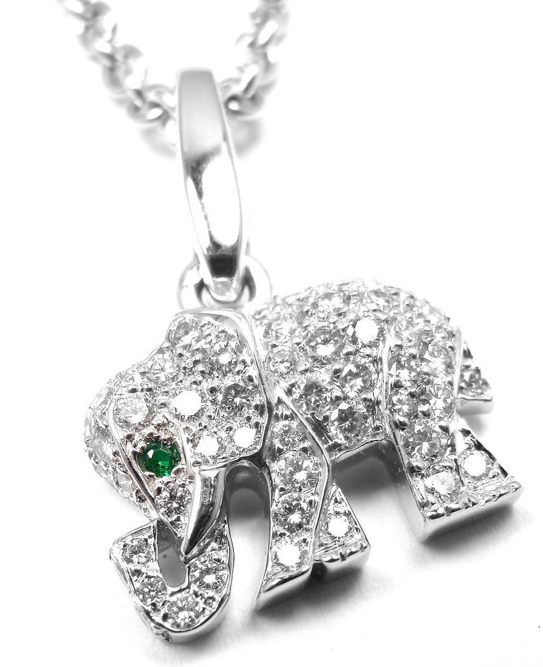 Cartier emerald diamond white gold elephant pendant necklace at 1stdibs 18k white gold diamond emerald pendant necklace by cartier this necklace comes with an aloadofball Images