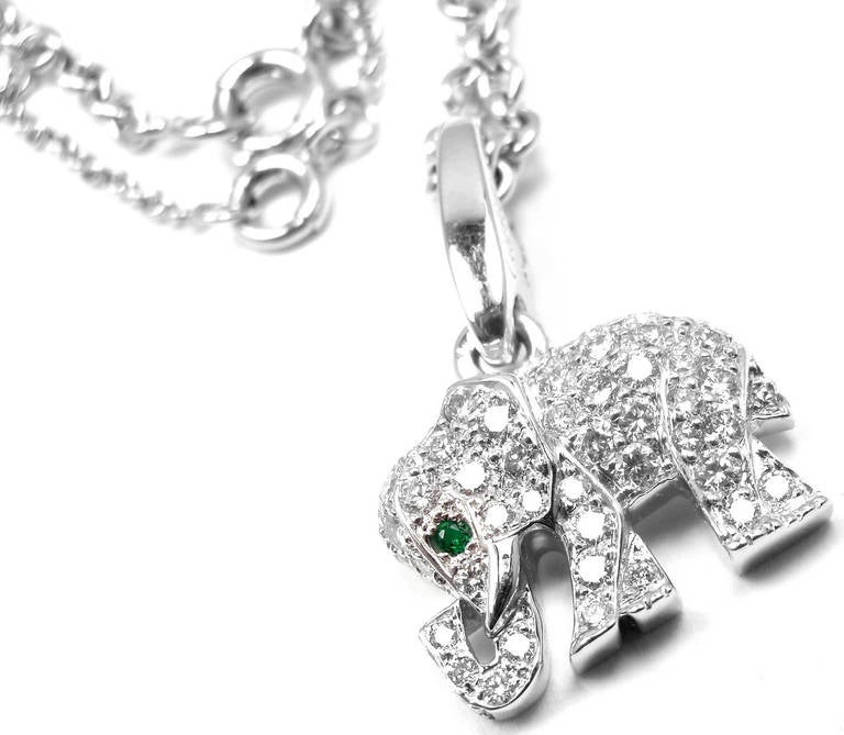 Cartier emerald diamond white gold elephant pendant necklace at 1stdibs cartier emerald diamond white gold elephant pendant necklace in as new condition for sale in southampton aloadofball Images