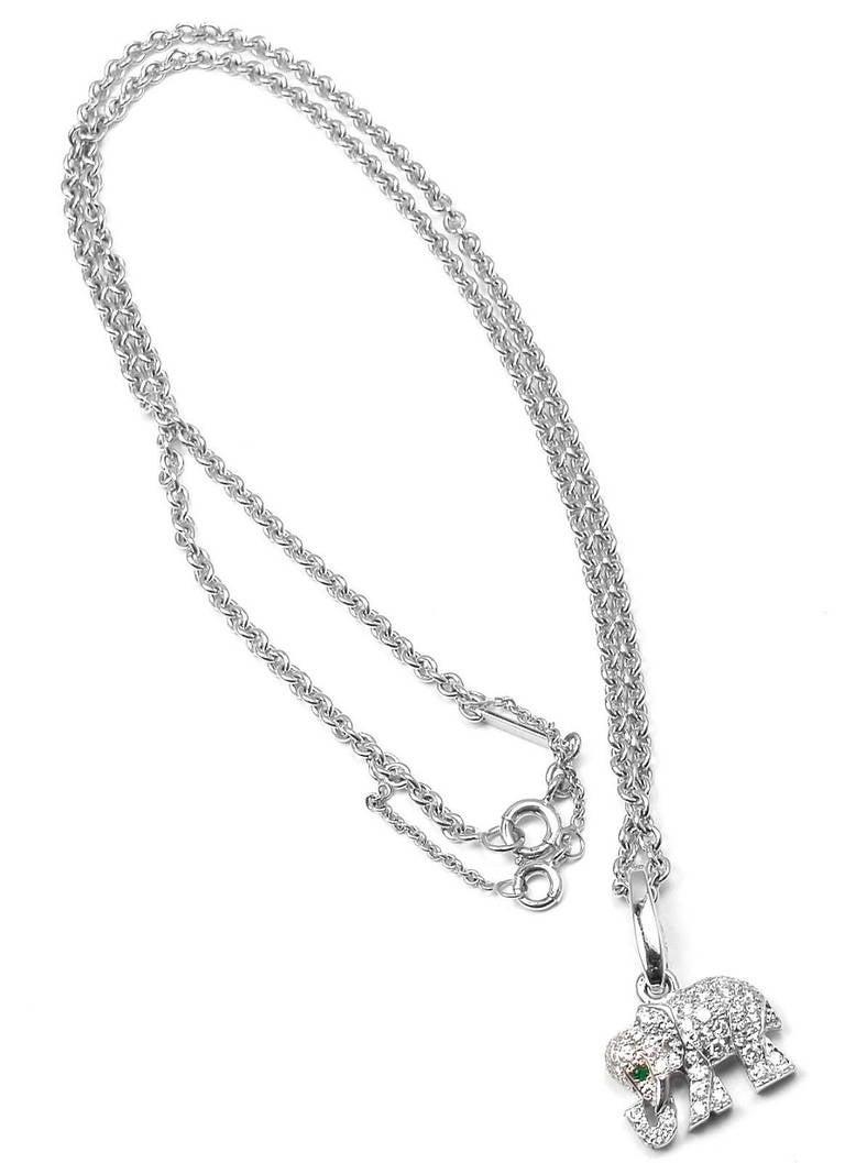 Cartier emerald diamond white gold elephant pendant necklace at 1stdibs womens cartier emerald diamond white gold elephant pendant necklace for sale aloadofball Choice Image