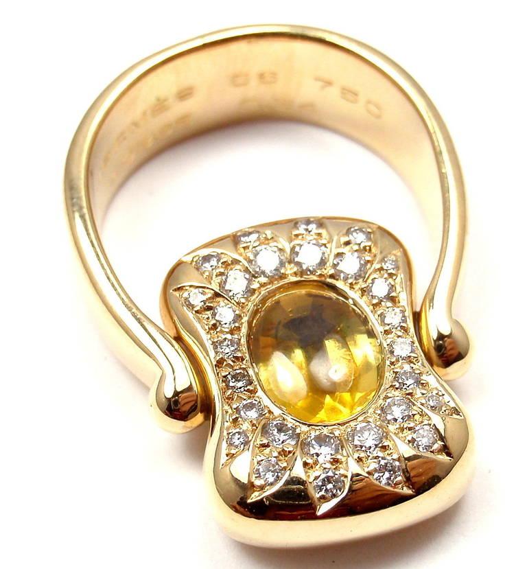 Hermes Citrine Yellow Sapphire Diamond Yellow Gold Flip