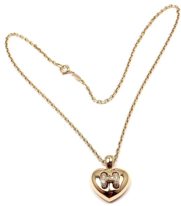 Hermes Diamond Yellow Gold H Heart Pendant Necklace at 1stdibs