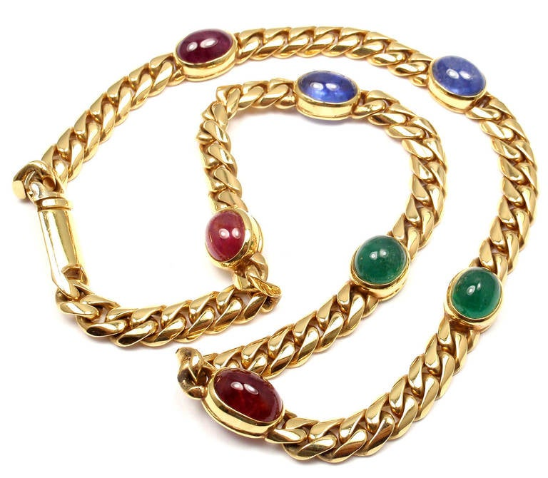 Bulgari Ruby Sapphire Emerald Yellow Gold Link Necklace At