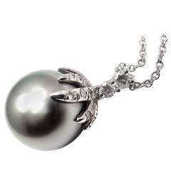 Tiffany & Co. Fireworks Tahitian Pearl Diamond Platinum Necklace