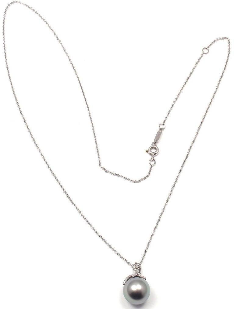 Tiffany and co fireworks tahitian pearl diamond platinum necklace platinum fireworks diamond tahitian pearl necklace by tiffany co with 22 round brilliant cut aloadofball Choice Image