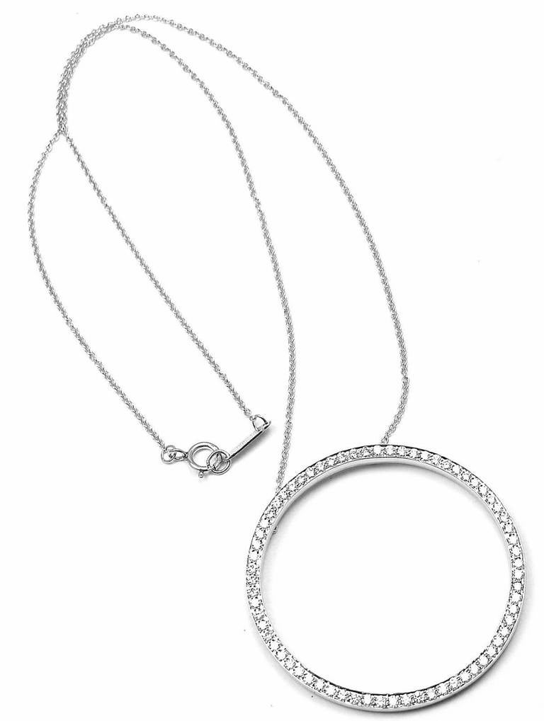 Tiffany and co diamond platinum large circle pendant necklace at platinum diamond large circle pendant necklace by tiffany co with round brilliant cut diamonds aloadofball Gallery