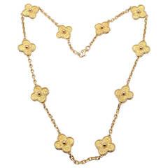 Van Cleef & Arpels Alhambra Ten Motif Yellow Gold Necklace