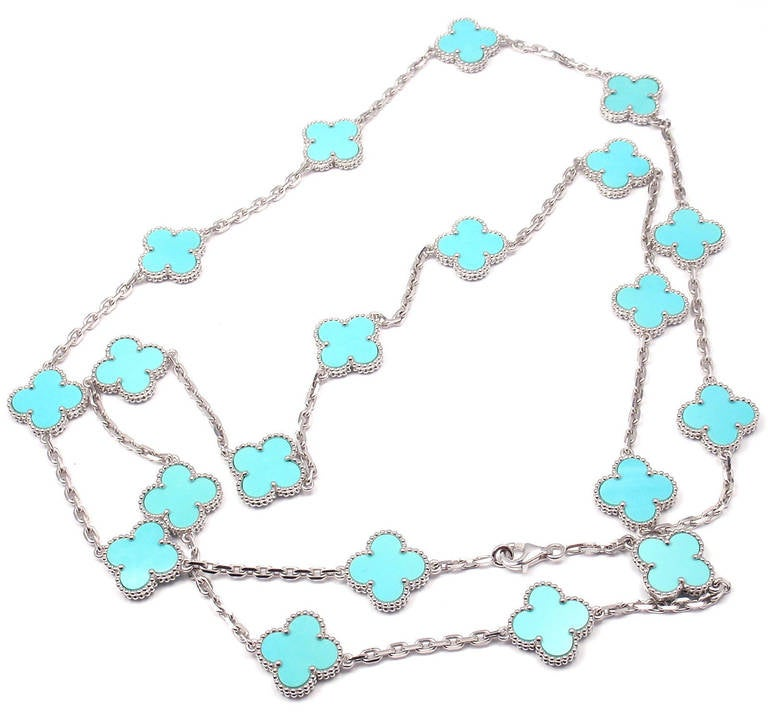 Van Cleef & Arpels Turquoise Alhambra White Gold Necklace 2