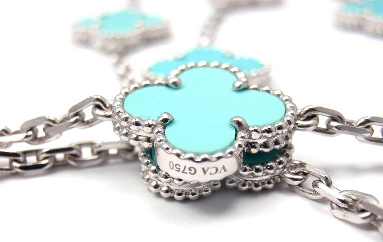 Van Cleef & Arpels Turquoise Alhambra White Gold Necklace 3
