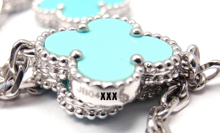 Van Cleef & Arpels Turquoise Alhambra White Gold Necklace 4